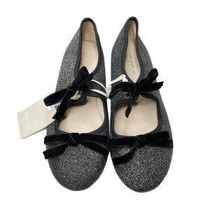 Zara Glitter Mary Jane Bow Flats